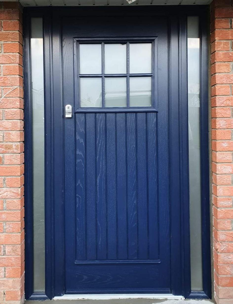 Palladio composite Front dublin  door in blue colour  door and blue colour frame