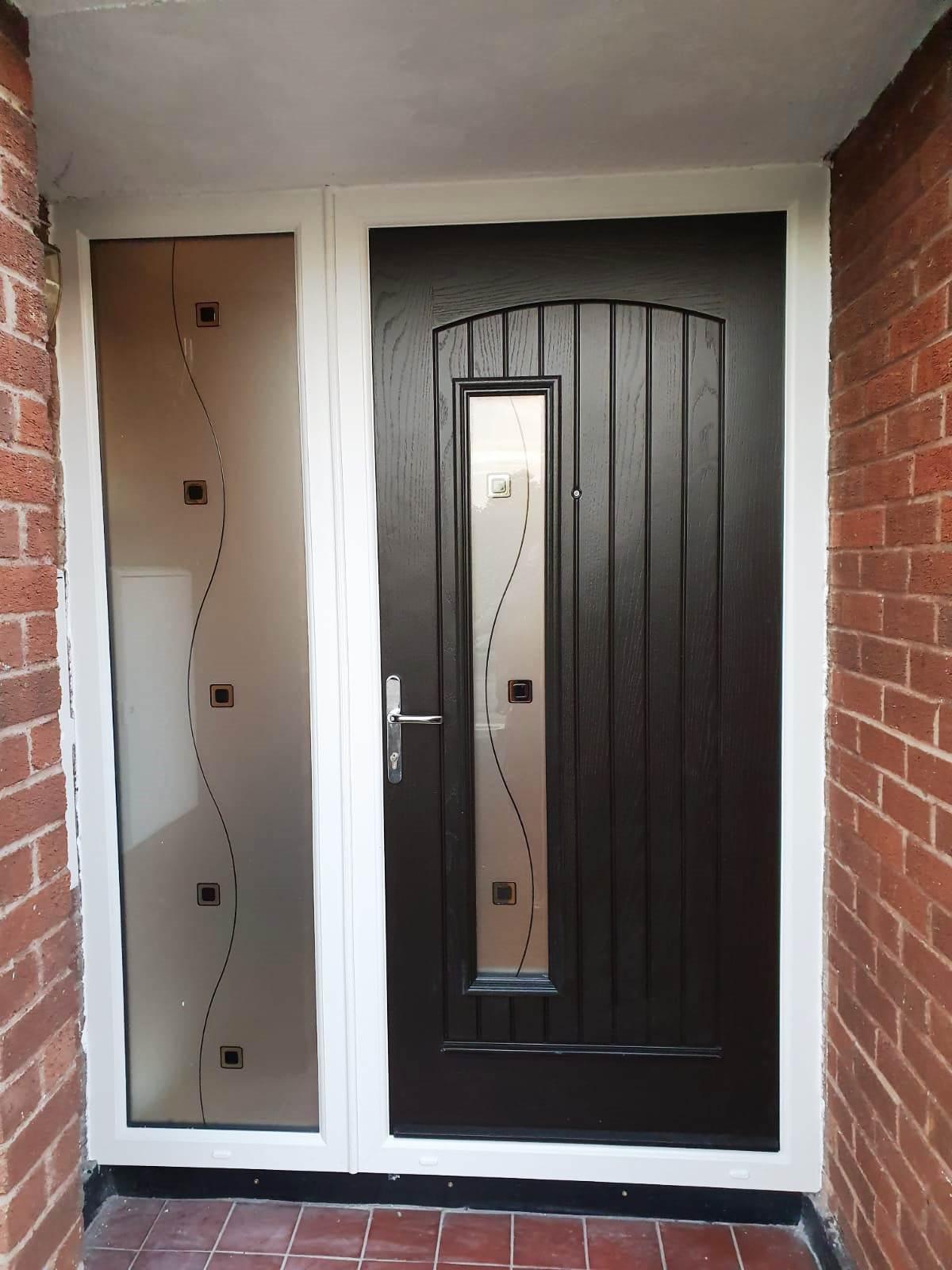 Palladio composite Front rome door in bog oak colour  door and white colour frame