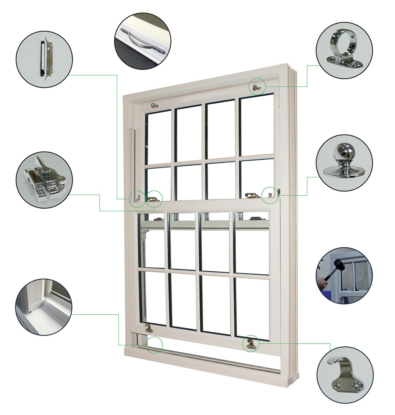 D'Best ECO Slide Sash windows Vertical Sliding Sash Windows, Stylish, secure and energy efficient