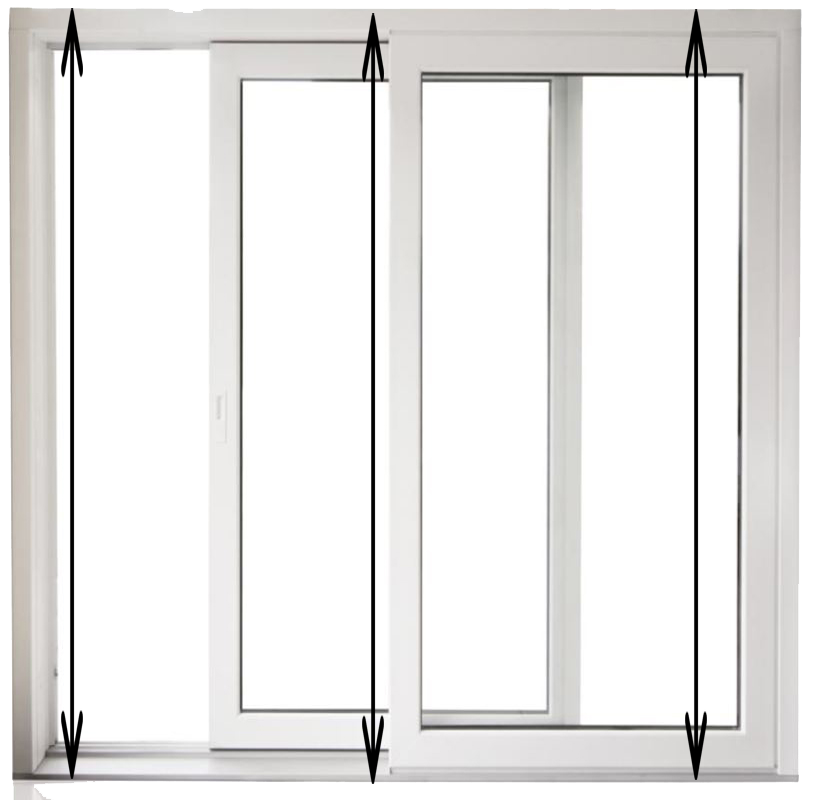 How to measure your double glazed PVC Patio door  Measure from PLASTER to PLASTER  Take your tape measure and quickly measure the width of your door opening (aperture)  from plaster-to-plaster from three points: the top, middle and bottom of the door opening. Once you've got all your measurements, take the smallest one and use it as the width. Remember, for any part of your door that isn't uniform in height, take a note of the smallest measurement of the 3 averaged and minus 10mm to ensure a proper fit  Measure from PLASTER to PLASTER  Take a measurement of the height between the plaster and the plaster on the sides.   Take AVERAGES and minus 10mm from the smallest