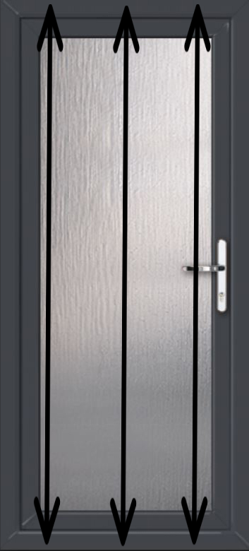 How to measure for a new pvc door -measure height in three places