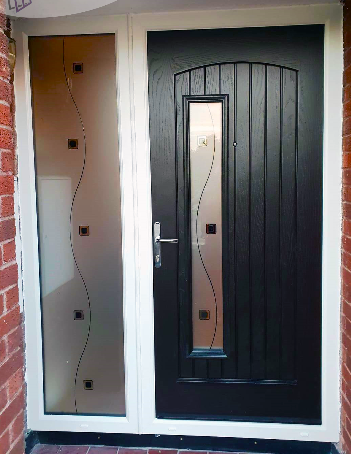 Palladio ROME door in Bog Oak with one sidelight, chrome lever lever handles and TG132 glass